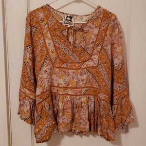 Jaase boho bell sleeve blouse size medium